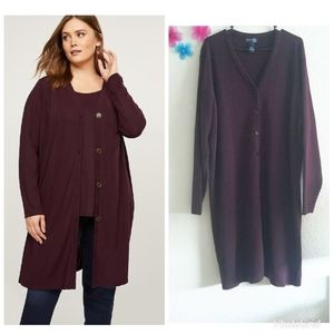 Lane Bryant VJ Co. Long wool Burgundy Cardigan S28